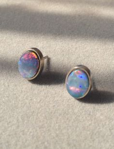 Hypoallergenic Opal Earrings Palladium Red Doublet Stud Posts Genuine