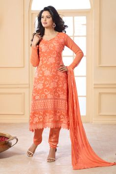 Orange colored Designer Wear Suit with beautiful floral prints on it. Price: INR 1120 Product Page: http://www.unnatiexports.com/design/closeup/women-party-wear-suits-a-458-b-4.html