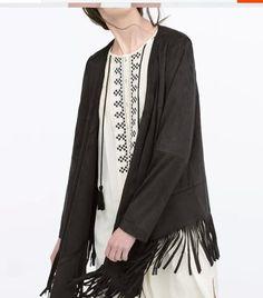 Aliexpress.com: Koop 2015 herfst winter nieuwe etnische kaki zwart faux suède poncho cape jas jas van betrouwbare basic jassen leveranciers op Bella Philosophy