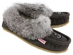SoftMoc Moccasins Women's CUTE 2 grey crepe sole rabbit fur moccasin - sz 9.5