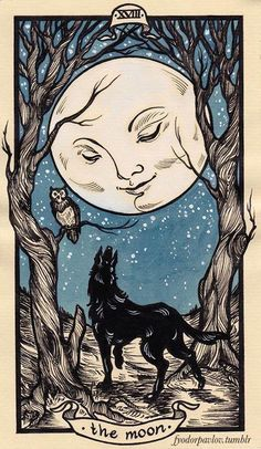The origins of the Tarot are surrounded with myth and lore. The Tarot has been thought to come from places like India, Egypt, China and Morocco. Others say the Tarot was brought to us fr Art And Illustration, Art Illustrations, Arte Inspo, Kunst Inspo, Art Graphique, Moon Art, Moon Moon, Blue Moon, Moon Child