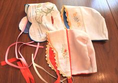 baby bonnets from vintage linens with hand embroidery