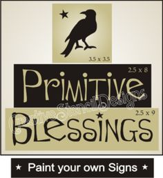 Stencil Trio Primitive Blessings with Crow for blocks signs Free Primitive Stencils, Primitive Patterns, Free Stencils, Rustic Crafts, Country Crafts, Wooden Crafts, Decor Crafts, Primitive Signs, Primitive Crafts
