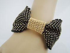 Best Bracelet Perles 2018 : Bow cuff bracelet, seed beads bracelet beadweaved black and gold bracelet, prom,. Seed Bead Bracelets, Seed Beads, Bead Jewellery, Beaded Jewelry, Bead Embroidered Bracelet, Seed Bead Patterns, Fabric Jewelry, Bead Crochet, Loom Beading