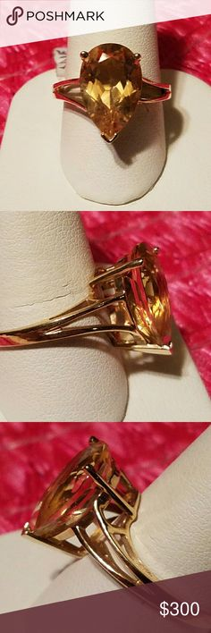 10 kt citrine gold ring size 8 This is a big citrine tear drop 10 kt gold size 8. Very nice color citrine. gold citrine ring Jewelry Rings