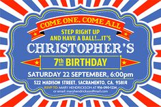 Come One, Come All! Party invitation for instant download at etsy shop 'Ideas2Print'    #etsy #artparty #partyprintables #instantdownload #design #art #etsysellersofinstagram #kidsparty #artistsoninstagram #digitalart #digital #circusparty #circus #carnivalparty #vintagestyle #birthday #ticketdesign #ticket #ideasforparty #vintageposter #circusstyle #etsyshop #hugoherrera