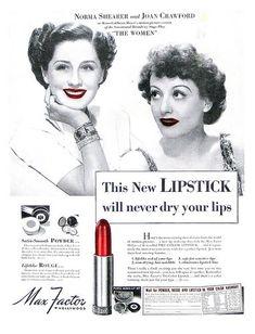 Max Factor lipstick. 1939  NORMAN SHEARER, JOAN CRAWFORD