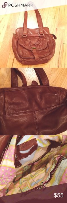 "🍁 Lucky Penny Anthropologie Leather Hobo Beautiful, rich, buttery soft brown ""glove"" leather. Zip closure. Two leather strap handles. Saddle bag style front pocket. Well-loved & in very good used condition! Leather with cotton lining. Anthropologie Bags Hobos"