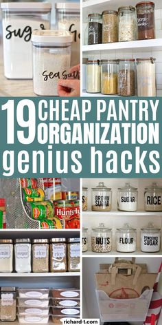 19 Pantry Organization Ideas That'll Blow Your Mind 19 Genius pantry organization hacks that really work well! Check out these AMAZING cheap pantry organization ideas for your kitchen! - Own Kitchen Pantry Organisation Hacks, Deep Pantry Organization, Organizing Hacks, Pantry Ideas, Food Pantry Organizing, Organize Small Pantry, Organizing Kitchen Cabinets, Pantry Cabinets, Organizing Labels
