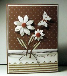 flower card...could be made using Memory Box Dies. Love this card in brown.
