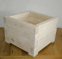 ! Large Square Wooden Wood Garden Plant Flower Herbs Basket Pot Planters Box | eBay