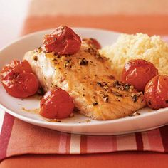 Salmon With Roasted Cherry Tomatoes    Season your fish with a delicious blend of tomatoes, thyme, olive oil, and garlic. You'll get heart-healthy fats from the salmon and plenty of cholesterol-blasting lycopene.    Ingredients: Cherry tomatoes, thyme, olive oil, salt, black pepper, garlic, cooking spray, salmon, lemons    Calories: 265