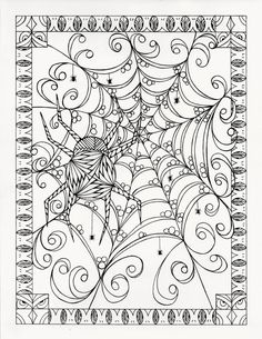 Halloween Coloring page from an Original by KellysInkCreations Abstract Doodle…
