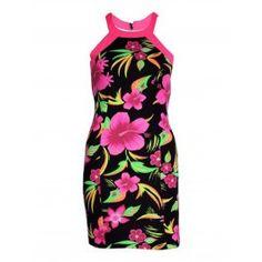 Vestidos Cortos Ajustados con Flores Neon MS883