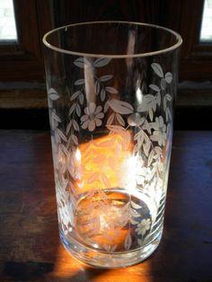 SALE Vintage Large Etched Glass Celery Vase by PamelaMurphyVintage