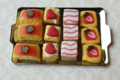 Dollhouse miniature food, strawberry treats on a tea tray, miniature sweets, one inch scale by MagentaMinis on Etsy