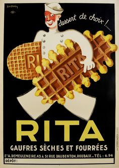 Rita by Dupin 1933 France - Beautiful Vintage Poster Reproduction. This vertical french culinary / food poster features a man dress in white with a hat walking with a giant biscuit under each arm on black. Vintage French Posters, Vintage Food Posters, Pub Vintage, Vintage Advertising Posters, Vintage Labels, Vintage Advertisements, Food Advertising, Vintage Style, Print Advertising