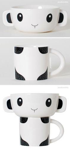 Panda mug and bowl set #product_design