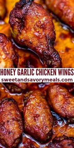 Yum Yum Chicken, Baked Chicken, Honey Garlic Chicken Wings, Chiken Wings, Honey Wings, Easy Cooking, Cooking Recipes, Good Food, Yummy Food