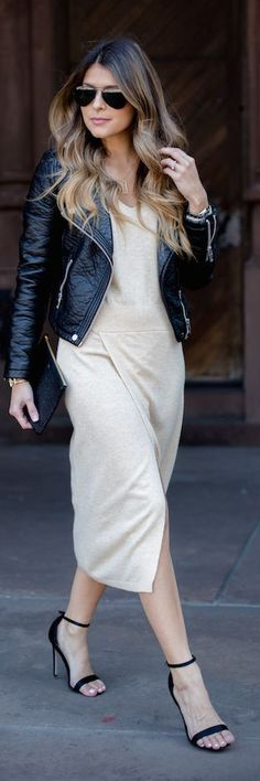 Moto Jacket Midi Dress Fall Inspo by The Girl From Panama