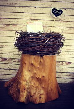 10 Robbin Bird Wooden Stump Table Wedding Picture Name Card Holder Display Stand