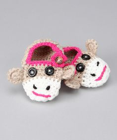 Too Cute!!  Sock Monkey Slippers - infant, toddler & girls