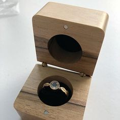 Wooden ring box with a bow for proposals with personalization Engagement ring box Diy Engagement Ring Box, Wedding Ring Box, Wooden Box Plans, Wooden Ring Box, Teak Oil, Black Pillows, How To Make Box, Pallet, Personalised Box