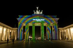 "Brandenburger Tor /// Brandenburg Gate @ Berlin FESTIVAL OF LIGHTS 2011. On the occasion of the ""International 'Year of the Forrest"". Designd by Oliver Bienkowski (c) Festival of Lights / Christian Kruppa  #Berlin #FestivalofLights #BrandenburgerTor #BrandenburgGate"