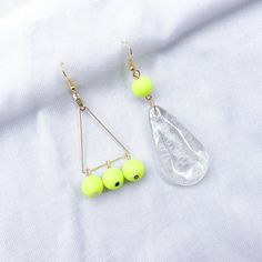 Neon colour drop earrings / Mismatched earrings / Minimal gold hook earrings / Mix and match neon yellow earrings / Handmade trendy earrings Statement Earrings, Drop Earrings, Golden Triangle, Yellow Earrings, Neon Yellow, Neon Colors, Earrings Handmade, Glass Beads, Minimal