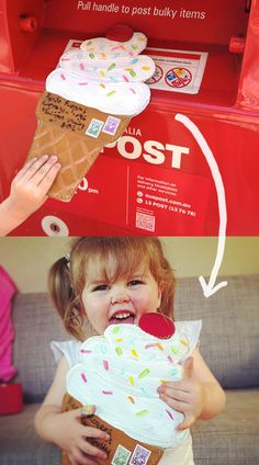 Absolutely too cute...a giant ice cream cone envelope to post....