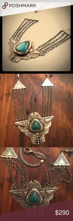 SPELL & Gypsy Thunderbird Necklace turquoise Spell & Gypsy Collection Thunderbird Chest Plate necklace silver & turquoise Spell & The Gypsy Collective Jewelry Necklaces