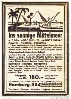 Original-Werbung/ Anzeige 1936 - MITTELMEER / MONTE ROSA / HAMBURG-SÜD - ca. 90…
