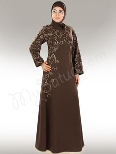 Pretty Embroidered Brown Party Wear #Abaya | #MyBatua.com  Farasha Abaya !  Style No: Ay-307  Shopping Link  : http://www.mybatua.com/farasha-abaya  Available Sizes XS to 7XL (size chart: http://www.mybatua.com/size-chart/#ABAYA/JILBAB)  •	Round neckline •	Curly embroidery in front  •	Straight sleeves with matching embroidery •	Utility pockets on both sides •	Matching Square Hijab (100x100 cm approx.) and Band can be bought Separately.