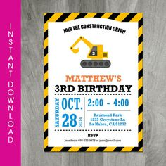 Construction Birthday Invitation, INSTANT DOWNLOAD, Self Editable, Party Printable, Diy, Personalize, Digital Pdf File, Builder Party $6.00