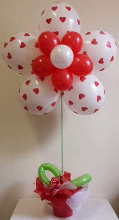 Designed As Flower With Balloons For Valentines Day