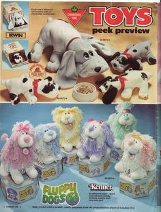 Pound Puppies and Fluppy Dogs catalog page. 1980s Toys, Retro Toys, Vintage Toys, Vintage Stuff, 1980s Childhood, Childhood Memories, Toy Catalogs, Pound Puppies, Online Pet Supplies