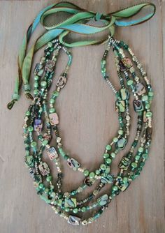 RESERVED for LINDA Abalone Multi layer necklace by slashKnots
