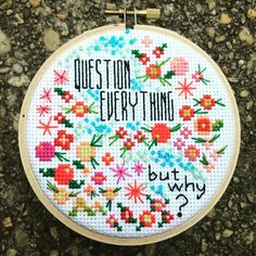 Good morning, world. I'm having my coffee and pondering the big questions... Like... What am I going to stitch today? #crossstitch #handembroidery #Crossstitcher #xstitch #stitchlife #questioneverything #thehivestitchery #