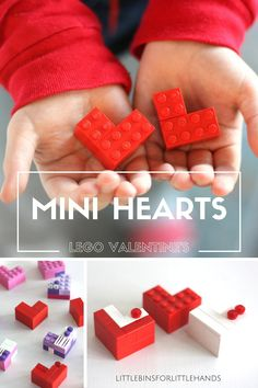 Build mini LEGO hearts for a Valentine's Day fine motor and STEM activity. Building mini LEGO hearts is a simple and fun Valentine's activity any day.