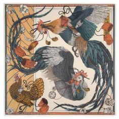 Sabina Savage with The Rooster's Dance Silk Scarf hand fringed edging. William And Son, Summer Prints, Scarf Design, Hand Designs, View Image, Savage, Rooster, How To Draw Hands, Sketches