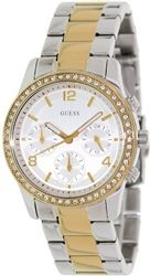 We love this watch by GUESS!! Discounted price! GUESS Yellow Gold-Tone Chronograph Watch. #Watch #Womensfashion #WomensJewelry #Jewelry www.theviningswatchcompany.com