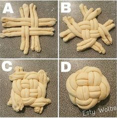 How to braid round challah: – Gesundes Abendessen, Vegetarische Rezepte, Vegane Desserts, Challah, Bread Recipes, Cooking Recipes, Pancake Recipes, Bread Shaping, Bread Art, Braided Bread, Braided Updo, Jewish Recipes