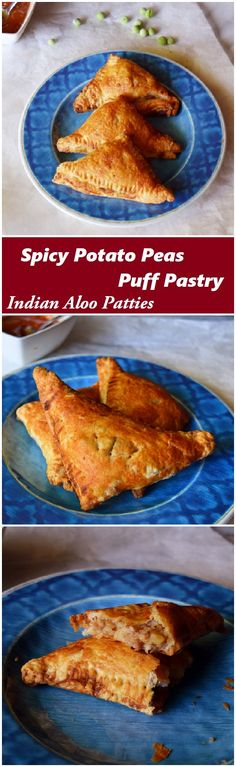 Quick and easy Indian potato peas puff pastry recipe made with butter puff pastry and spicy peas, potato and red onion filling. #puff #pastry #spicy #potato #onion #peas #snacks #Indian