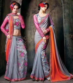 Glamorous Grey and Orange Saree