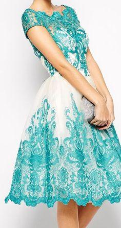Blue Lace Embellished Exquisite Elegance Round Neck Sweet Midi Dress