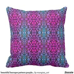 Shop beautiful baroque pattern purple and pink floral throw pillow created by mangisa_art. Baroque Pattern, Floral Throw Pillows, Compact Mirror, Custom Art, Purple, Pink, Party Supplies, Canvas Art, Art Prints