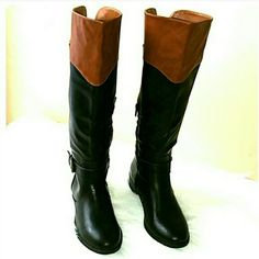 =FLASH SALE  =Beautiful Brand New Tall Boots. Brand new never worn .Boasting buckle details and half exposed zip. This boots is sure to turn heads.A rubber sole makes it easy to wear anytime.  1in heel, 13-in shaft height, 14-in calf circumference.  Interior side half exposed zip closure.  Almond toe, upper polyurethane. Smoke and pet free household. Happy shopping. Price negotiable. RampNge  Shoes