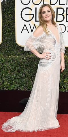 Golden Globes 2017: Drew Barrymore in Monique Lhuillier and Harry Winston jewelry.