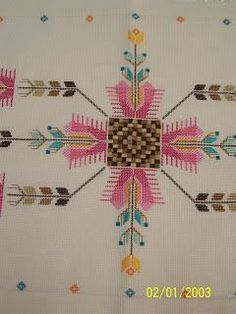 This Pin was discovered by Fyz Embroidery Patterns, Hand Embroidery, Palestinian Embroidery, Cut Work, Bargello, Punch Needle, Plastic Canvas Patterns, Cross Stitching, Hair Accessories