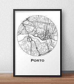 Cartel Porto Portugal Minimalista Mapa - City Map, decoración, regalo